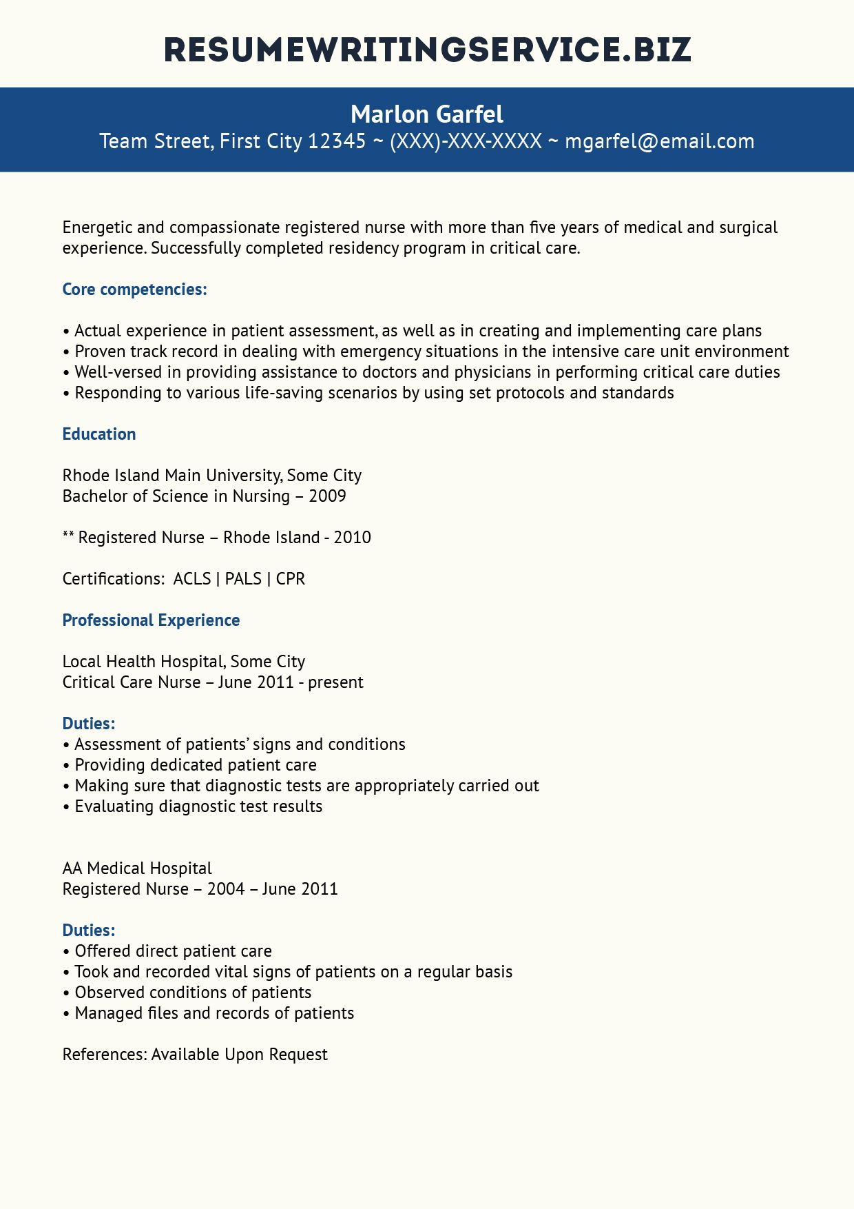 Critical Care Nurse Resume Sample | Student/Career | Nursing resume ...
