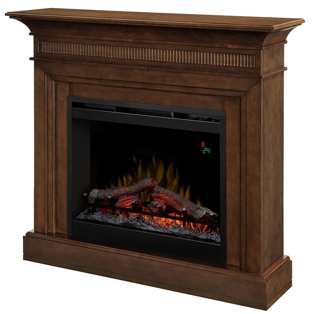Fine Harleigh Walnut Electric Fireplace Mantel Package Dfp26L Home Interior And Landscaping Synyenasavecom
