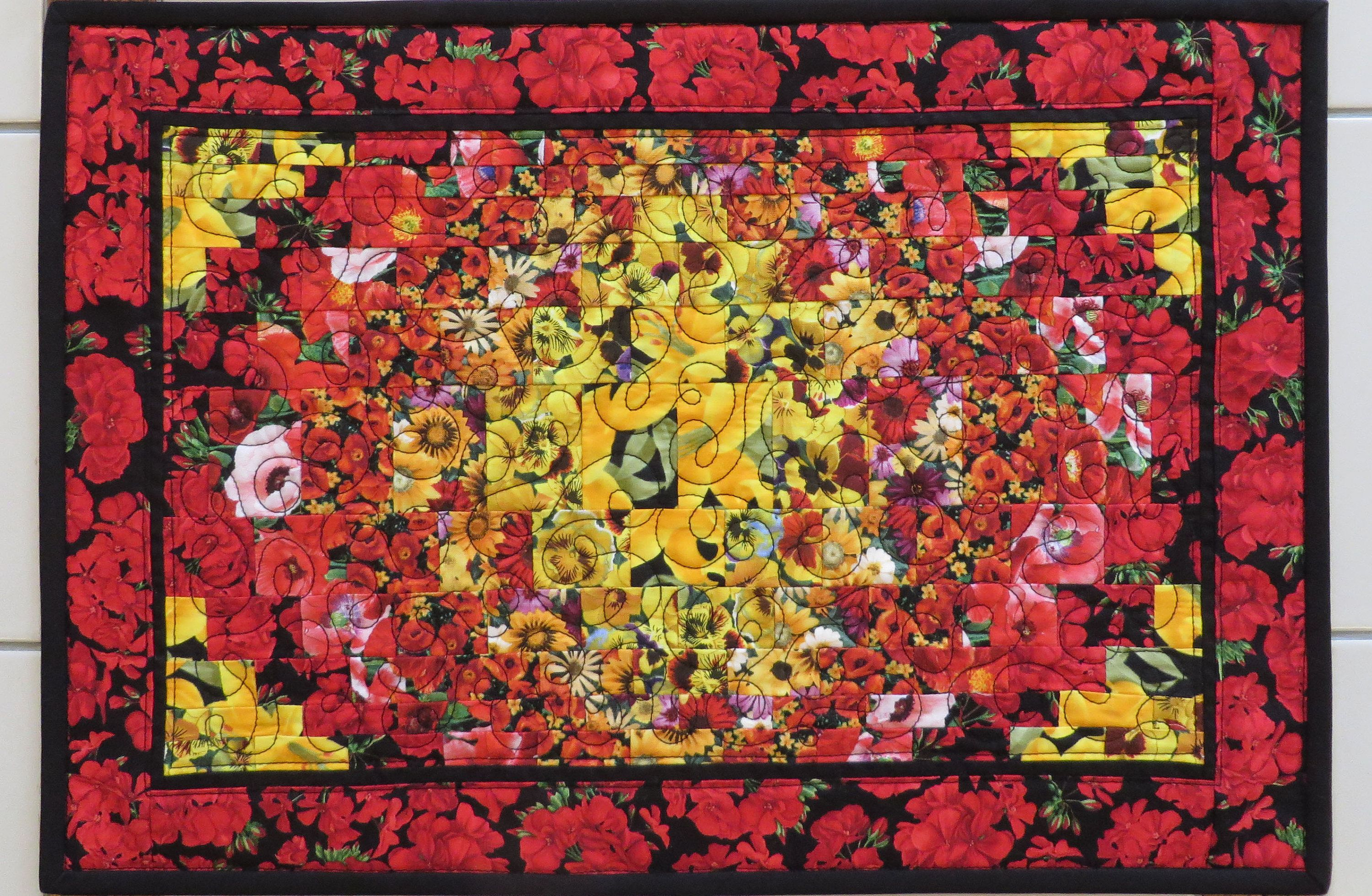 Wall Hanging or Table Topper in Bright and Colorful Batik Fabrics Quilted Patchwork Place Mat