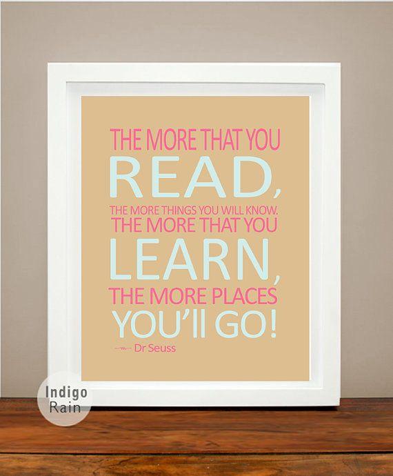 Dr Seuss Wall Art, The more you read, Teachers gift, Pastel Girl ...