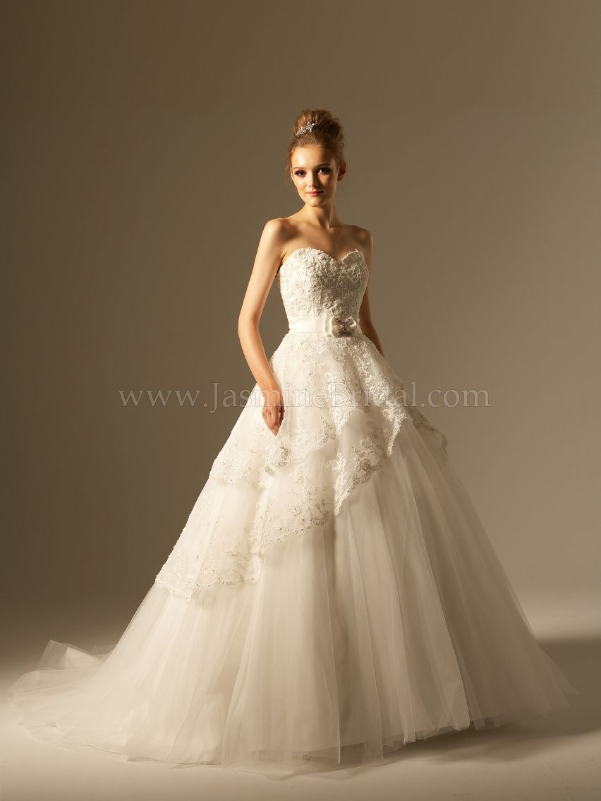 Beautiful, beaded lace and tulle, ball gown style, wedding dress ...