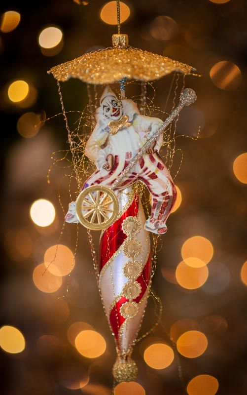Victorian Style Dresden Zany Circus Clown on Unicycle Vintage Kurt Adler Airship Ornament www.overthetopstudios.etsy.com
