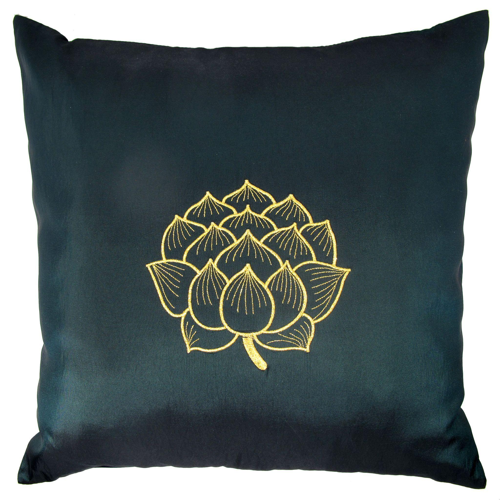 Thai Silk Throw Pillow Cover Lotus Bloom Design Green