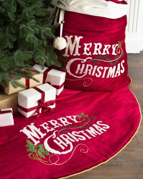 Vintage Merry Christmas Velvet Tree Skirt and Santa Bag by Balsam