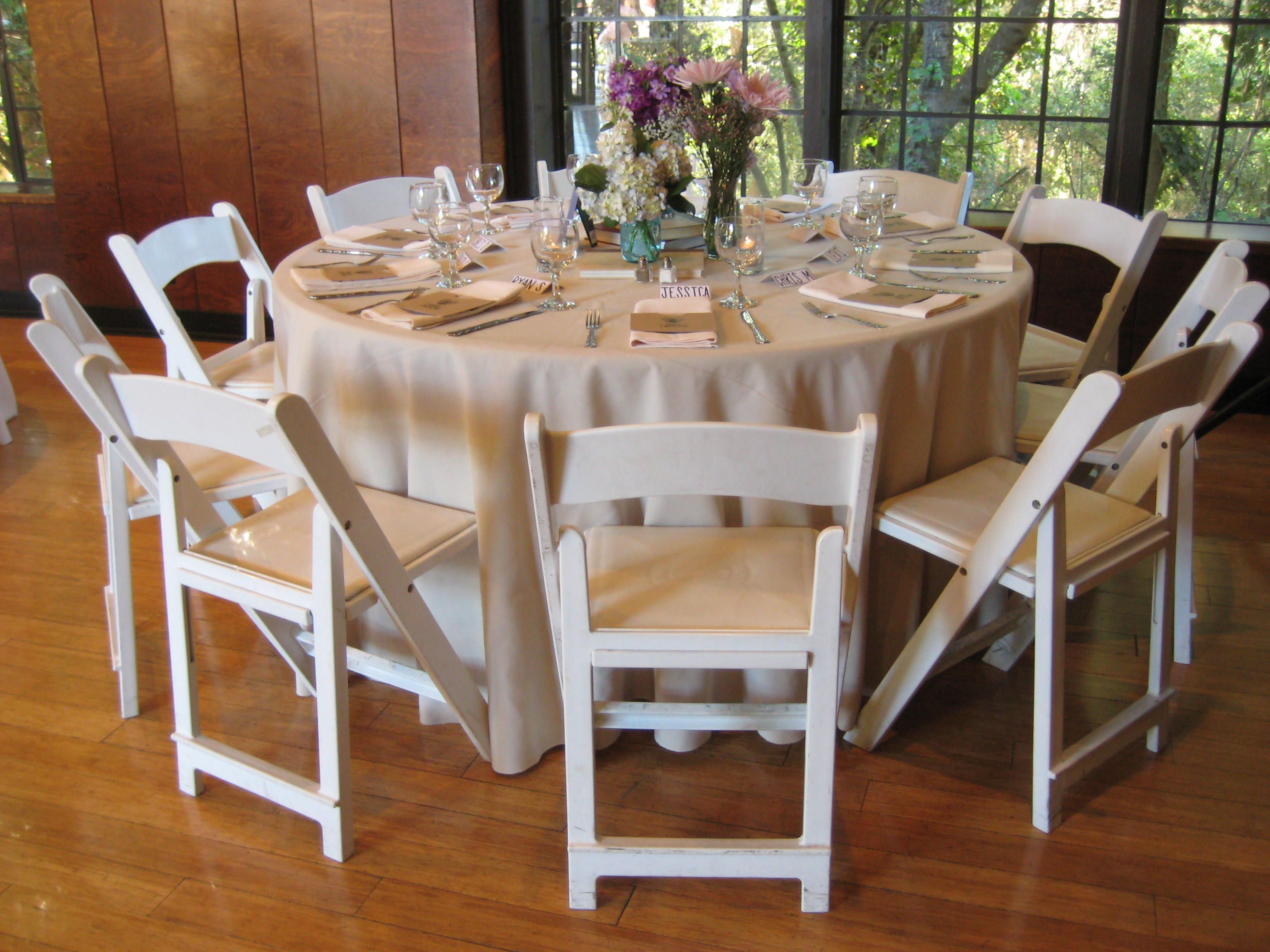 Beige Cotton Duck Linens White Resin Folding Chairs