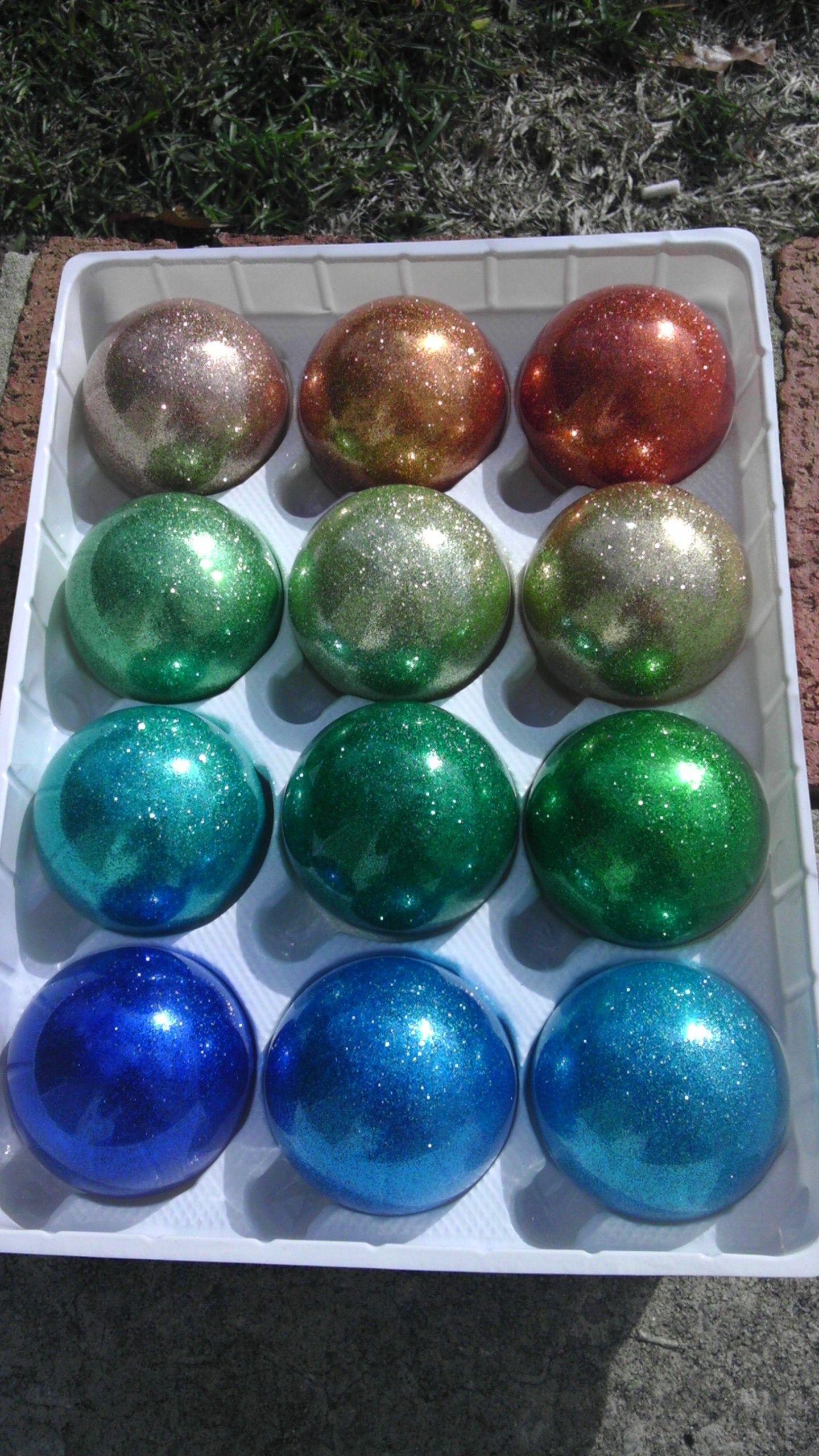 Homemade glitter christmas balls. I used glass balls