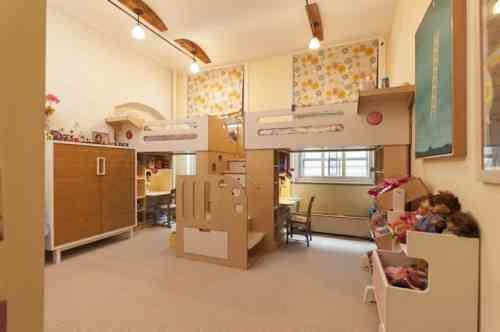 Idée déco pour chambre denfants partagée lits en mezzanine