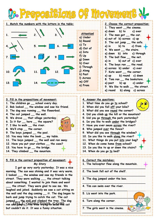Prepositions of movement | English | Pinterest | Prepositions ...