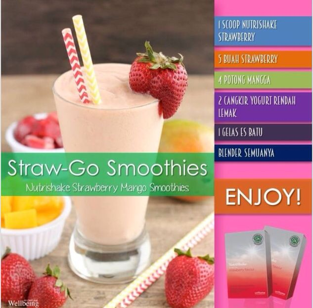 Enjoy Straw Go Smoothies Nutrishake Strawberry Manggo Smoothies Kesehatan Cangkir Hidup Sehat
