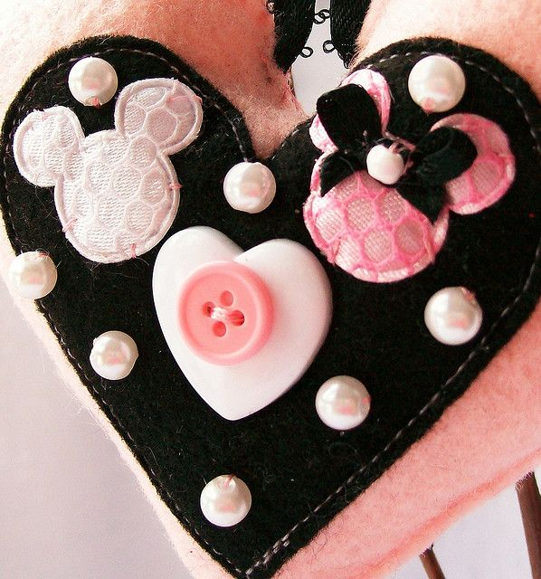 Mickey and Minnie felt heart with buttons