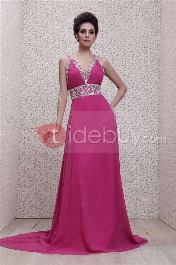 Exquisito Taline\'s-Vestido de Noche Imperio Cuello en V Cola Barrida ...