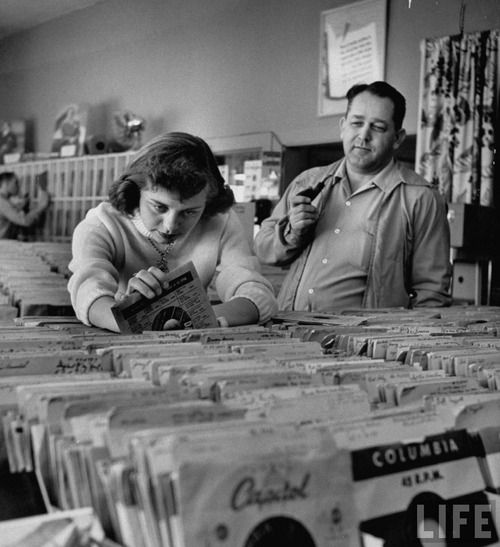 Digging for records, 1953.