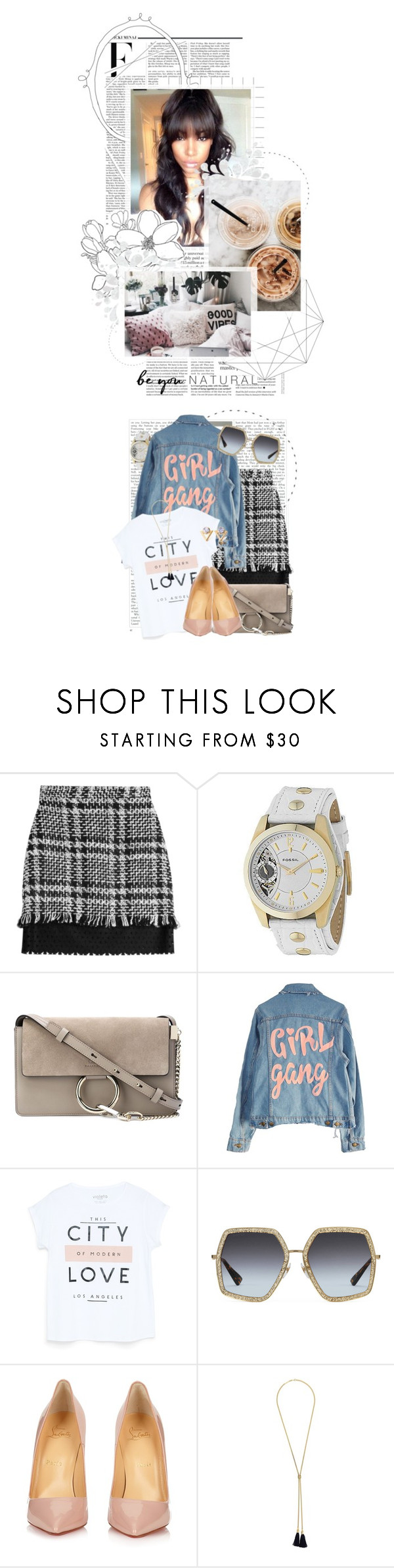 """City Love. Girl Gang. For Musicfrend1"" by crystal85 ❤ liked on Polyvore featuring Nicki Minaj, MSGM, FOSSIL, Chloé, High Heels Suicide, MANGO, Gucci, Christian Louboutin, GET LOST and Kakao By K"