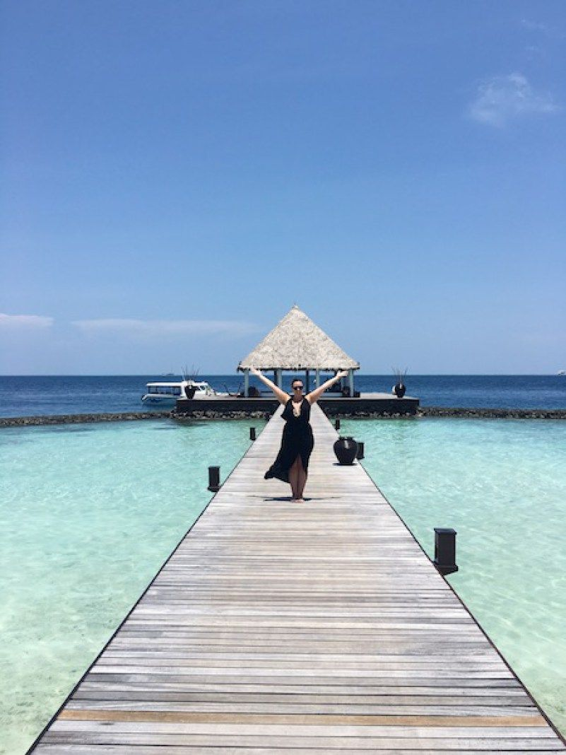 Making a fashionable entrance in the Maldives (I think!)