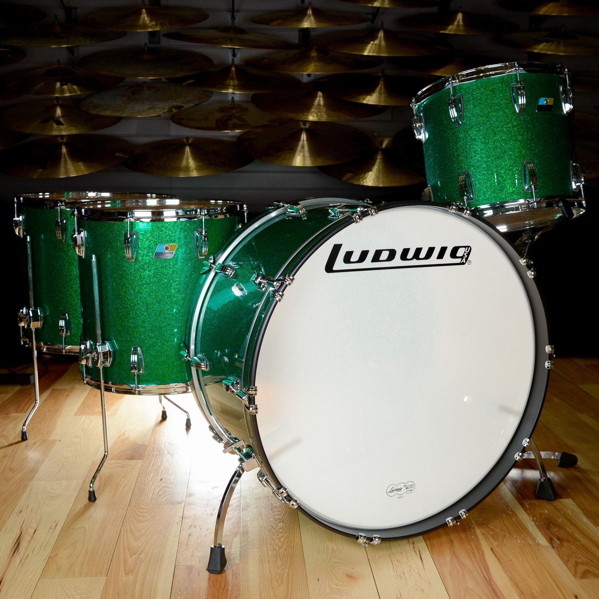Ludwig Classic Maple 14 16 18 26 4pc Zep Drum Kit Green Sparkle