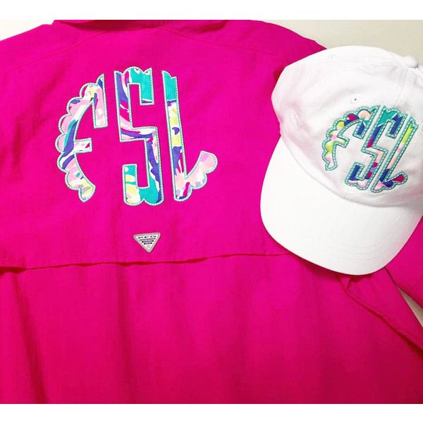 50f73b14c7 Preppy Lilly Pulitzer Monogrammed Columbia Pfg Fishing Shirt Cover Up ($45)  ❤ liked on Polyvore featuring swimwear, cover-ups, pink, women's clothing,  ...