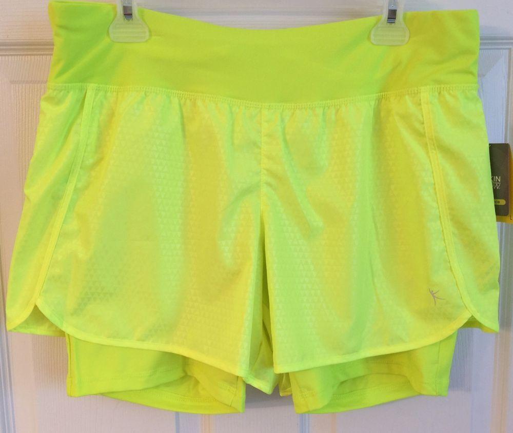 Danskin Now Women's L Running Fitness Double Short Size 12 14 Neon Yellow   eBay