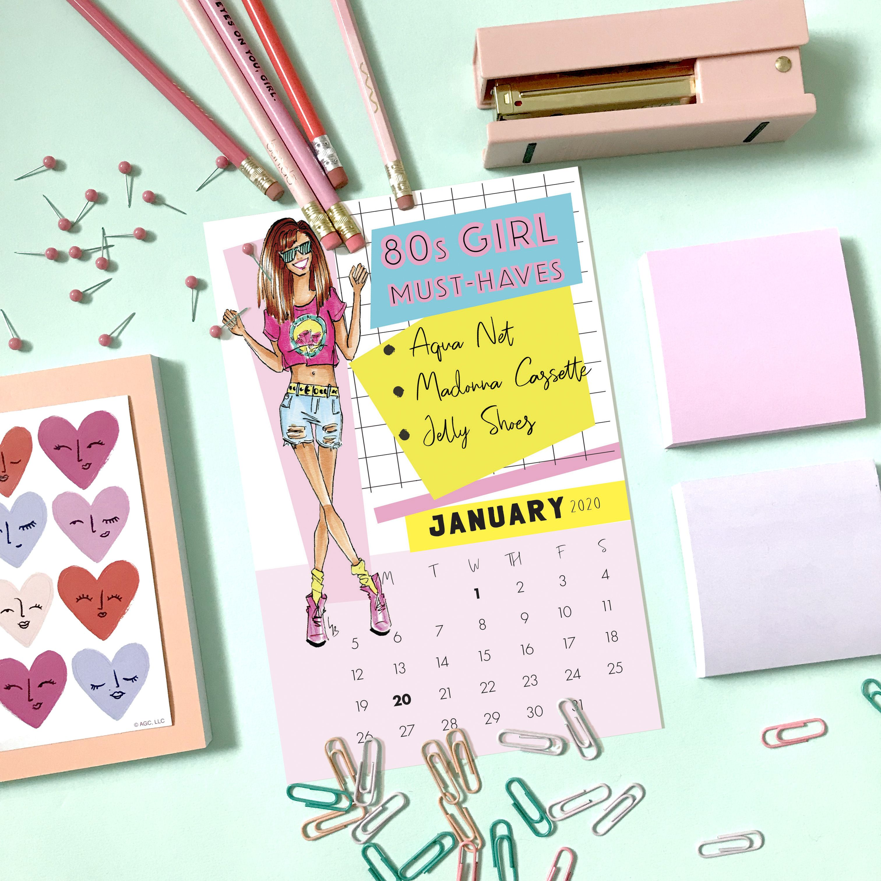 2020 Desk Calendar 80s Desk Calendar Fashion Illustration