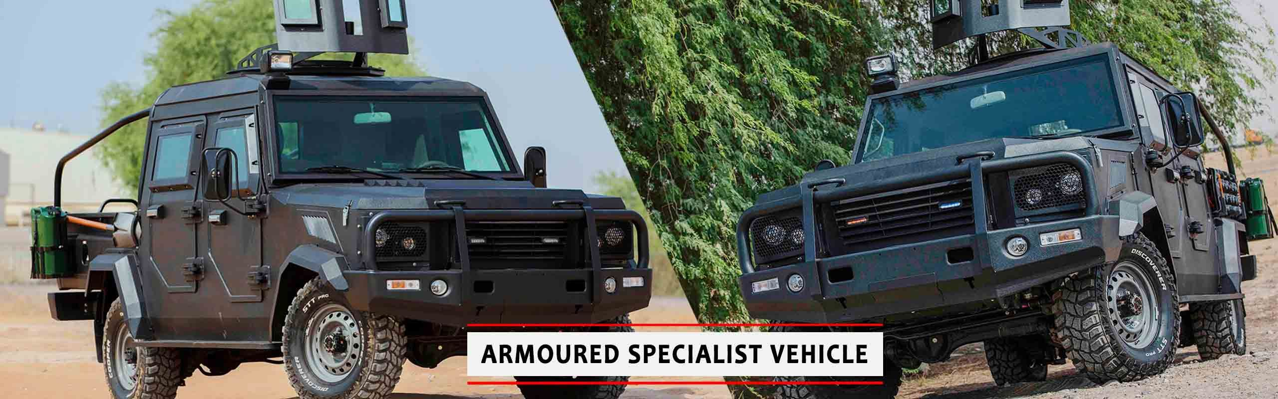 The MEVA Armoured Specialist Vehicle (ASV) is a pickup