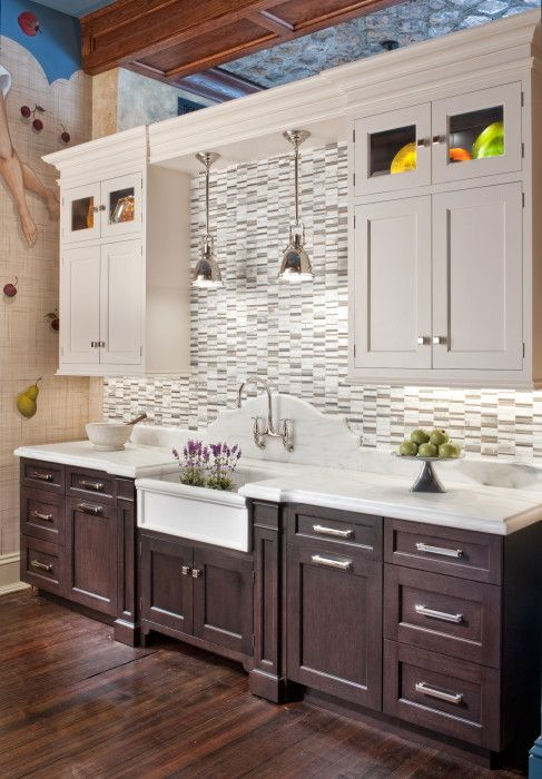 Classic White - Hammer and Nail | Kitchen Remodeling Ideas in 2019 | Kitchen sink lighting Kitchen remodelu2026 & Interesting white top cupboards and brown bottoms. Classic White ...