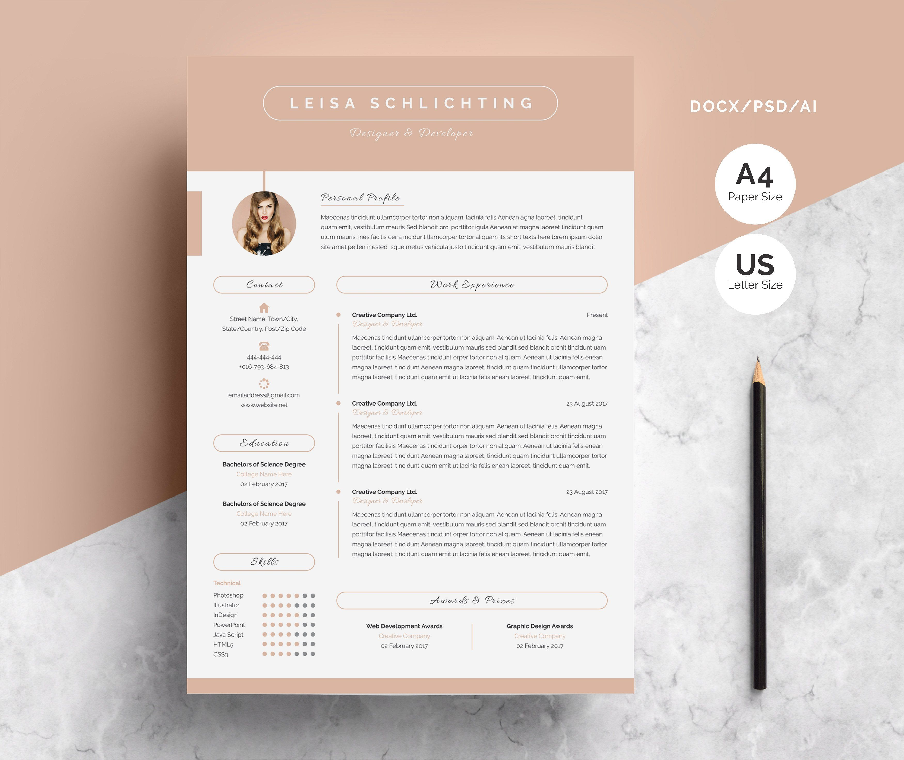 Modern Resume Cv 3 Pages Resume Templates Creative Resume