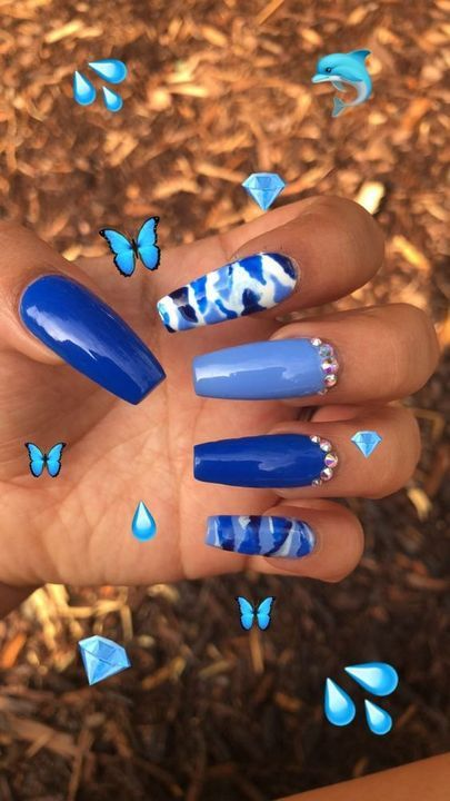 Band Jabezvill Girls Day In 2020 Blue Coffin Nails Blue Stiletto Nails Coffin Nails Designs
