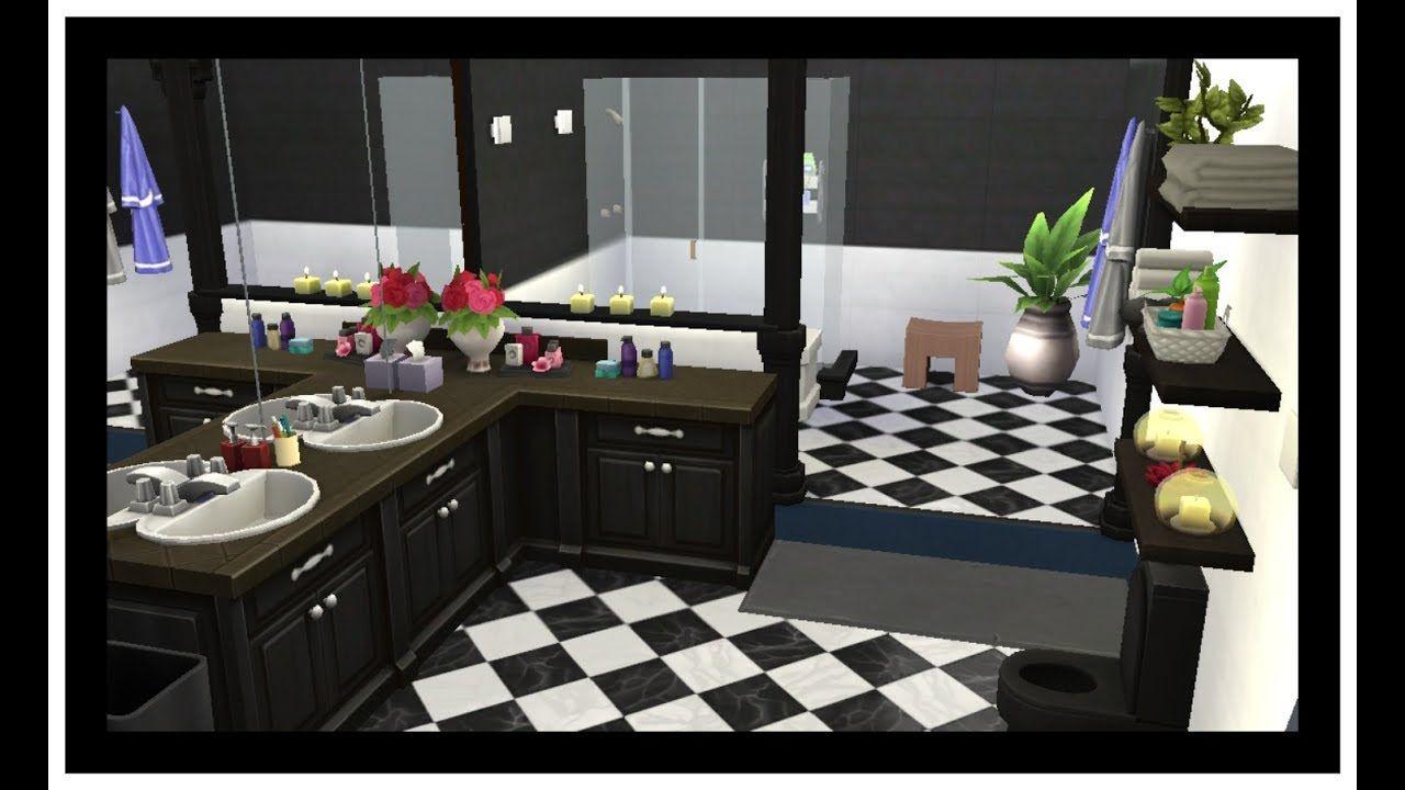 The Sims 4 Room Build Semi Black White Bathroom No Cc Sims House Black White Bathrooms Home Decor
