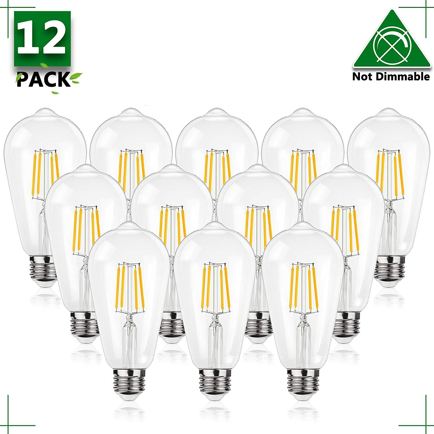 St64 Vintage Edison Filament Light Bulb 4 Watt 40 Watt Equivalent Not Dimmable E26 Base Bulb 2700k Soft White 120 Led Bulb Filament Bulb Lighting Light Bulb