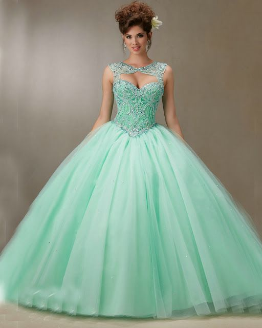 22607ea357 vestidos de 15 años desmontables verde menta
