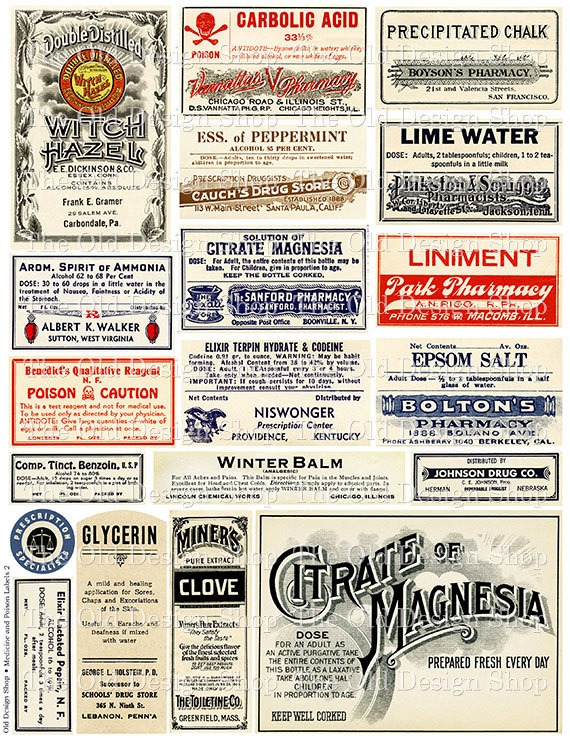 Vintage Pharmacy Poison Labels
