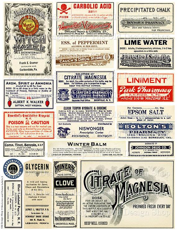 Vintage Medical Pharmacy Poison Labels Set 2 By TheOldDesignShop 350