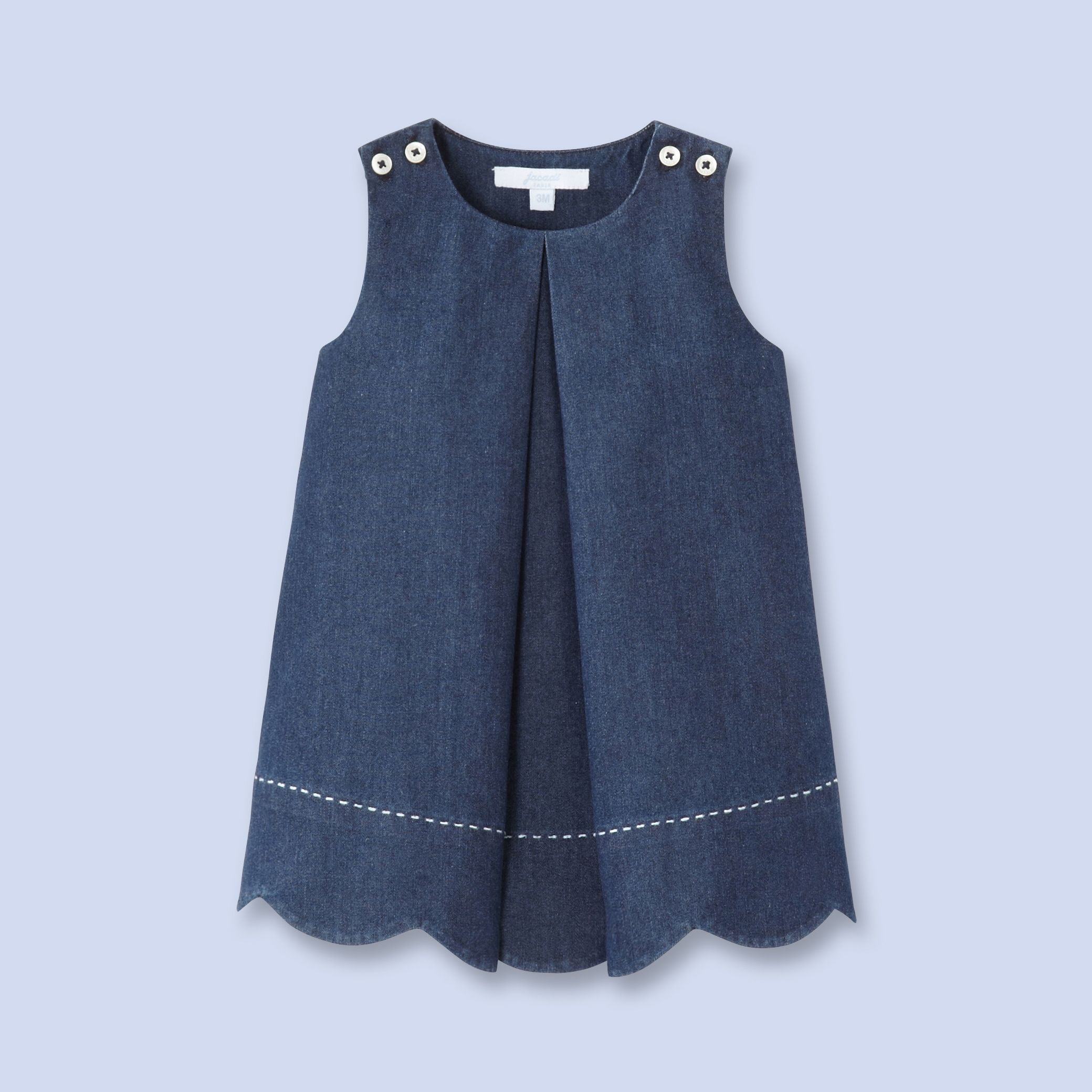 Topstitched denim dress for baby, girl