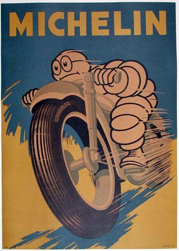 pneus michelin pour motos affiche 1950 anciennes pub. Black Bedroom Furniture Sets. Home Design Ideas