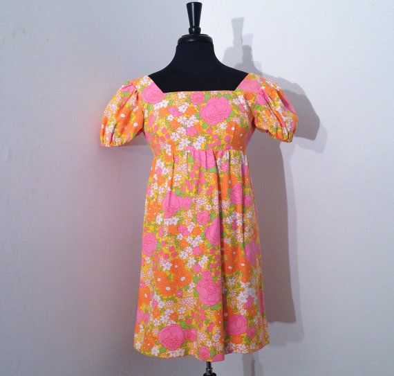 Yep, wore baby doll, 1968-1973. ALady. Vintage 1960s 60s Psychedelic Floral Print Cotton by Salvages
