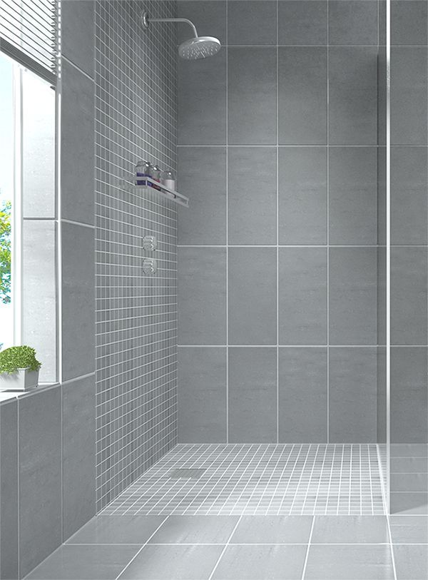 create a modern looking bathroom by mixing different shapes of floor tiles walls tiles