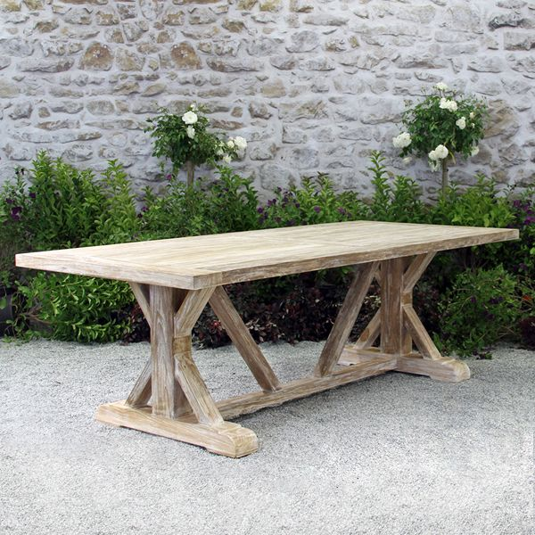Farmhous Beam Table Teak Outdoor Furniture Terra Patio Teak Patio Furniture Teak Outdoor Furniture Outdoor Dining Table