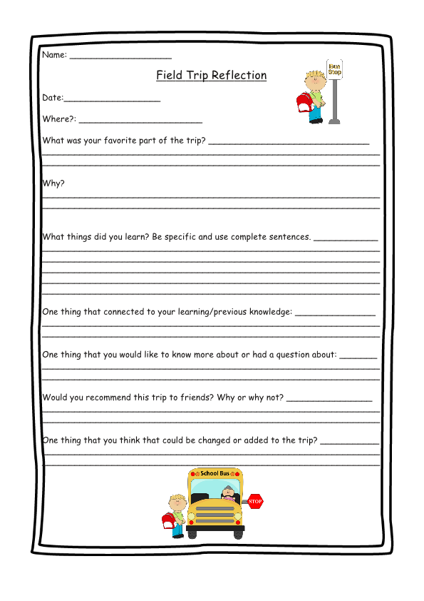 Field trip reflection form tpt pinterest field trips for Field trip lesson plan template