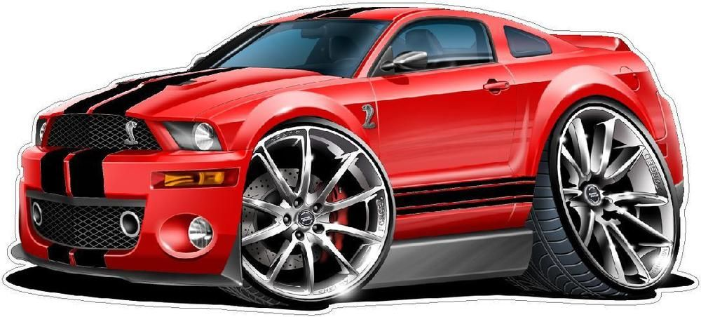 Ford Mustang Gt Super Snake 427 Cartoon Car Wall Graphic Decal
