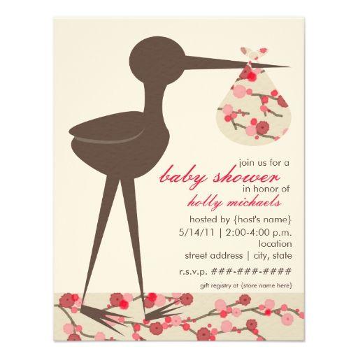 Sophisticated Stork Cherry Blossom Baby Shower Invitation