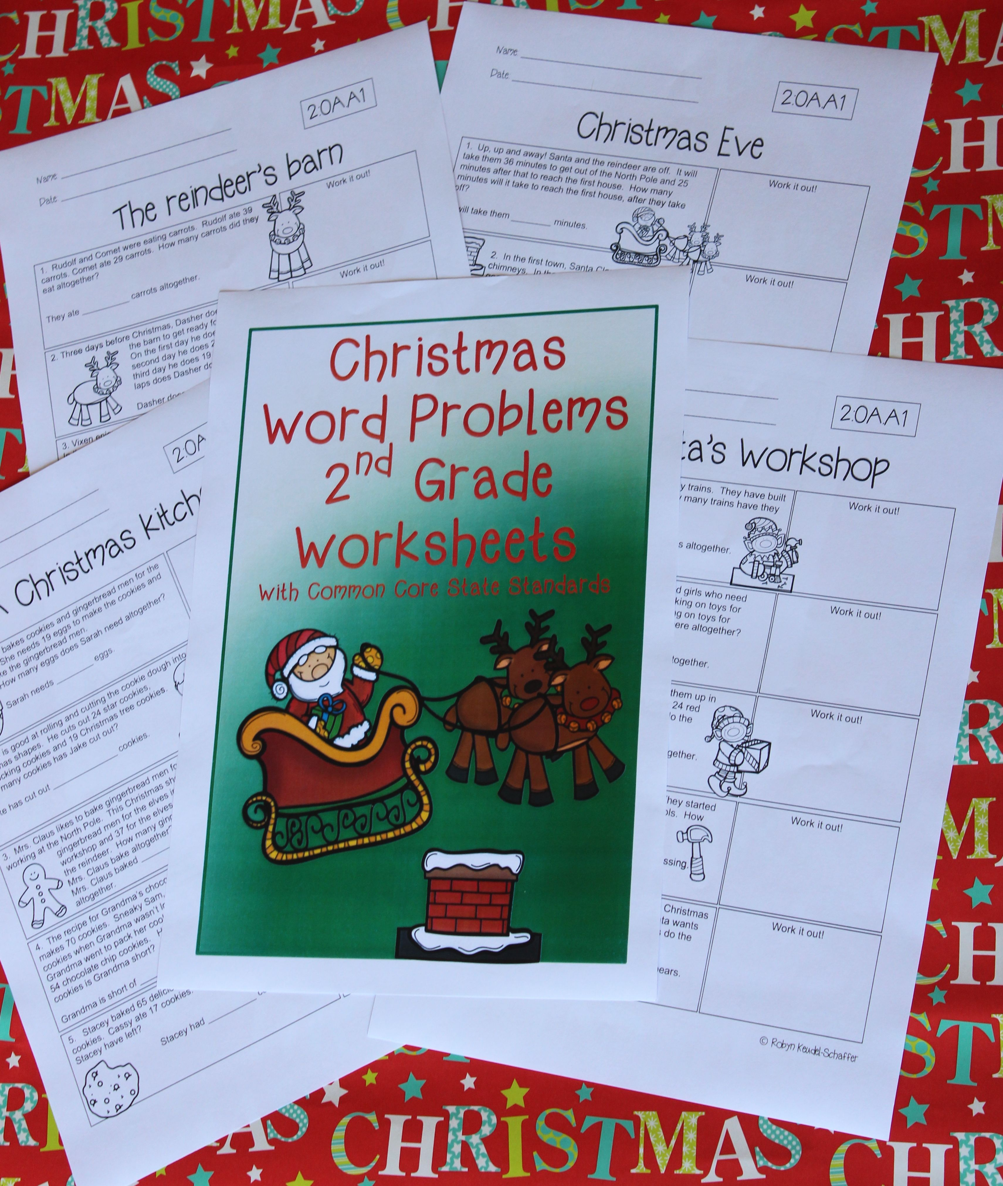 Christmas themed grade 2 word problem worksheets, with common core ...