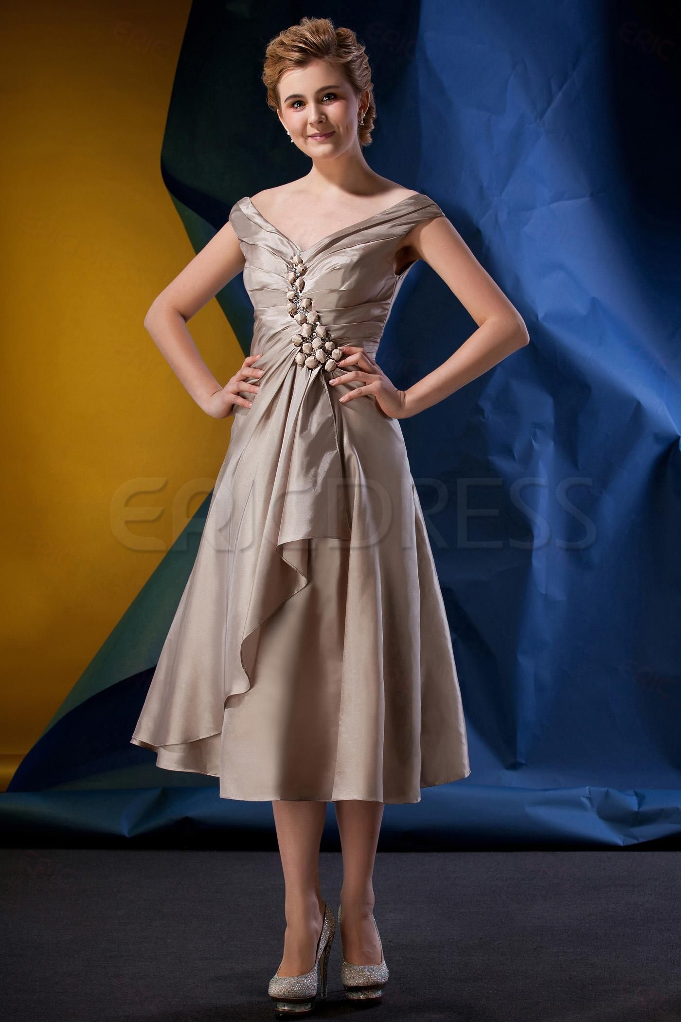 Graceful beaded pleats aline tealength mother of the bride dress