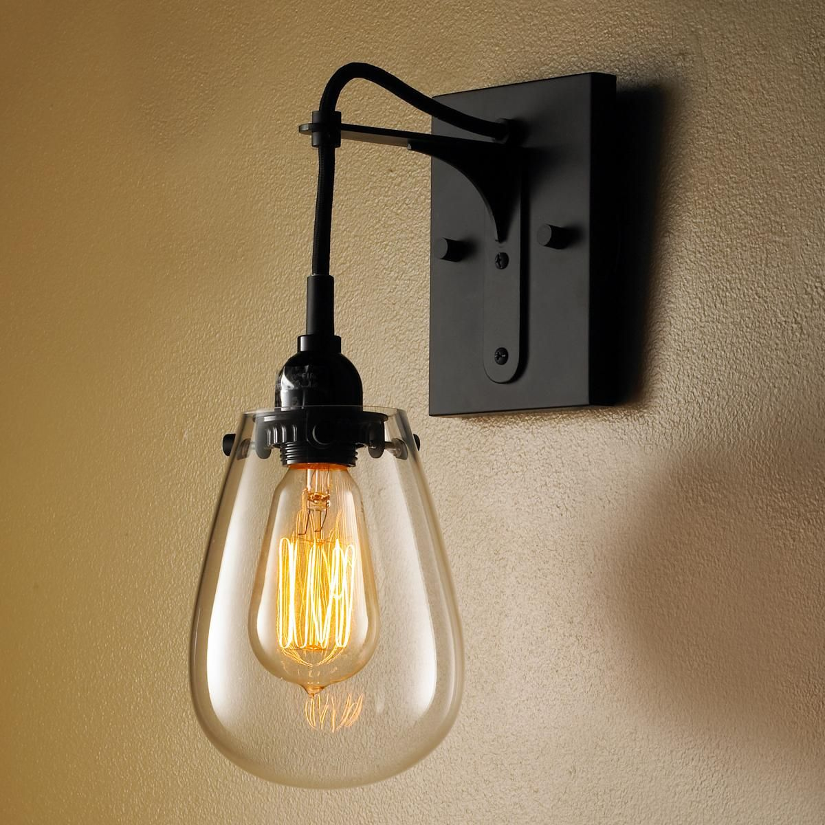 Cordless wall lamps - Tear Drop Glass Wall Sconce