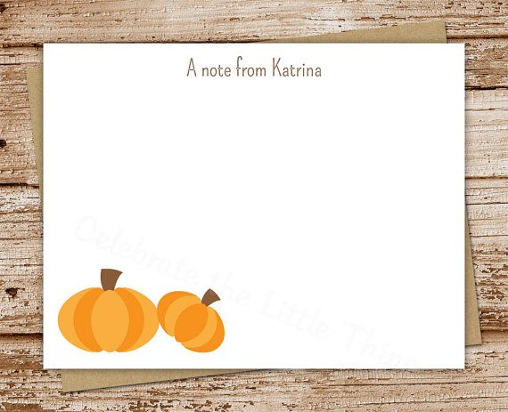 pumpkin note cards notecards  set of 12  by CelebrateLilThings