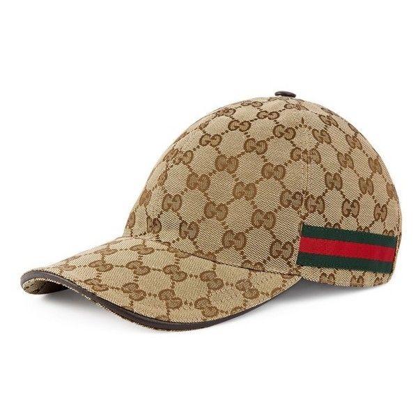 e854aa10611 Men s Gucci Logo Print Baseball Cap ( 320) ❤ liked on Polyvore featuring  men s fashion