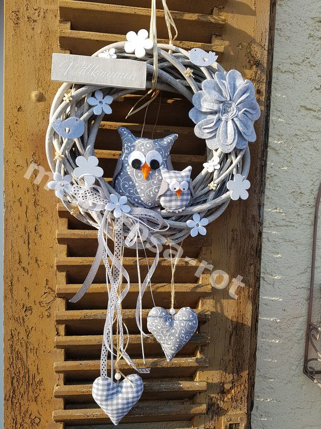 Photo of Door wreaths – ✿Door wreath spring owl gray shabby chic nostalgia – a design …