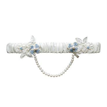Sweetheart Silk Bridal Garter - vintage silk wedding garter, silk bridal garter, blue wedding garter, blue bridal garter, pearl drape garter, ivory silk garter, ivory garter, floral garter