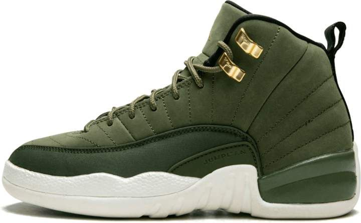 e1494df9beb722 Air Jordan 12 Retro GS Olive Canvas Metallic Gold in 2019