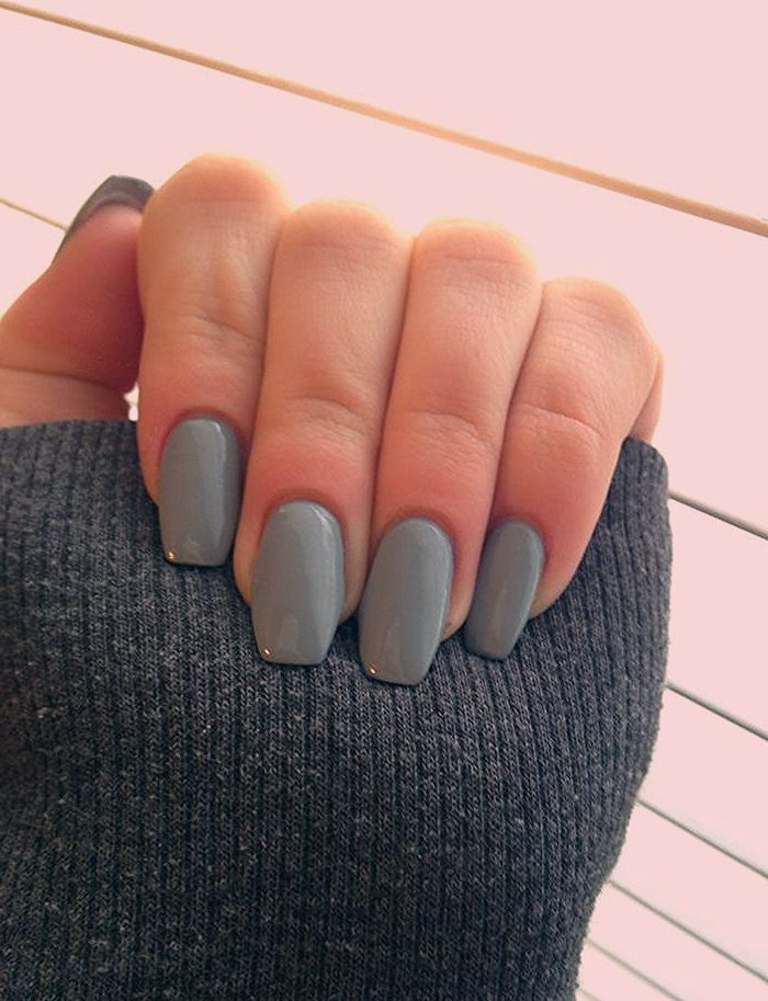 Forme Des Ongles Tendance Manucure Ongles Ballerine Unicolore Couleur Vert Coffin Shape Nails Rounded Acrylic Nails Gel Nails