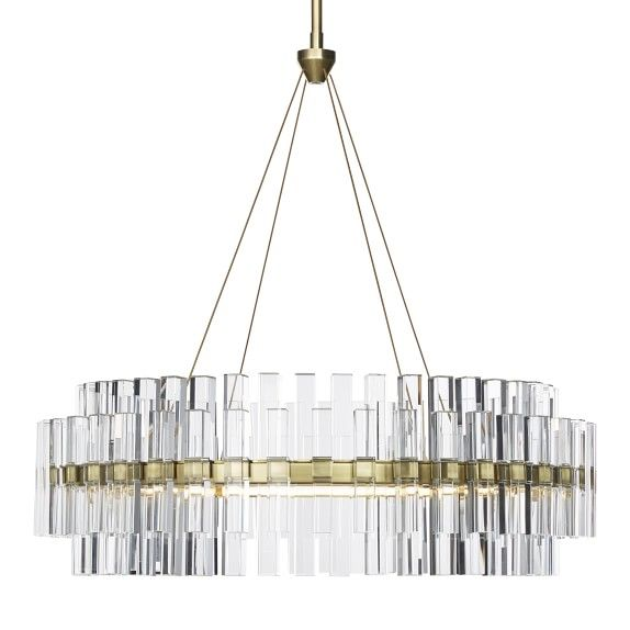 Phoebe 30 Quot Round Led Crystal Chandelier Antique Brass In