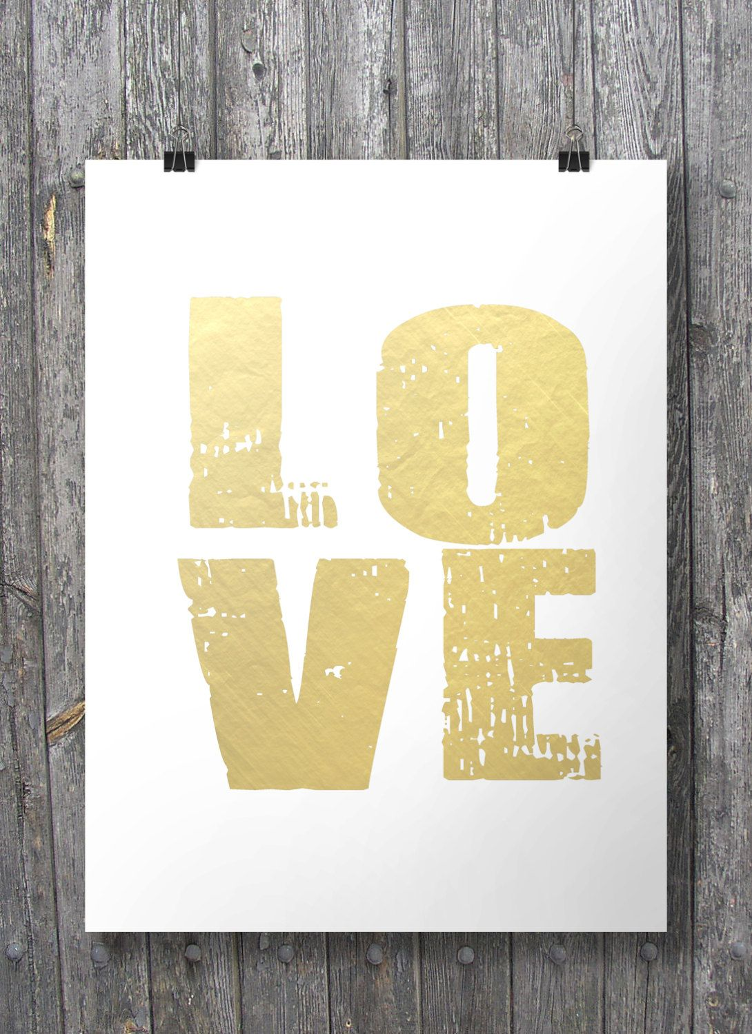 Faux gold foil LOVE print - Printable wall art decor print (Instant ...